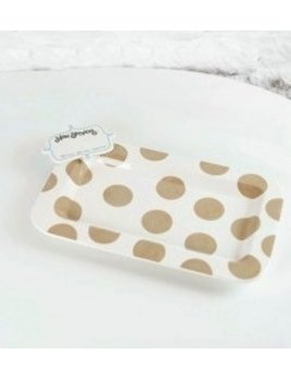 Platter Neutral Dot Entertaining Mini Platter with Now Serving Mini Attachment