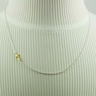 Necklace Gold Sideways Cross by Cool and Interesting