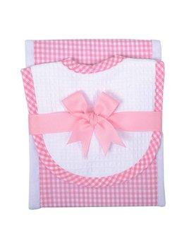 Burp Pads Pink Gingham Burp Pad & Drooler Bib Set