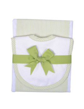 White Little Lambs Burp Pad and Drooler Bib Set