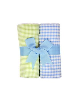 Blue and Green Seersucker Set of Two Burp Cloths