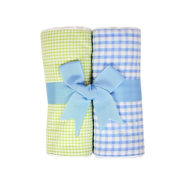 Blue and Green Seersucker Burp Cloths Set of 2