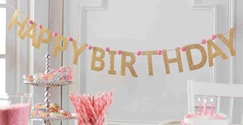 Banner Glitter Birthday Banner