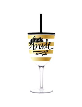 Wine Glass Team Bride - 13oz Acrylic Wine Glass with Lid & Straw