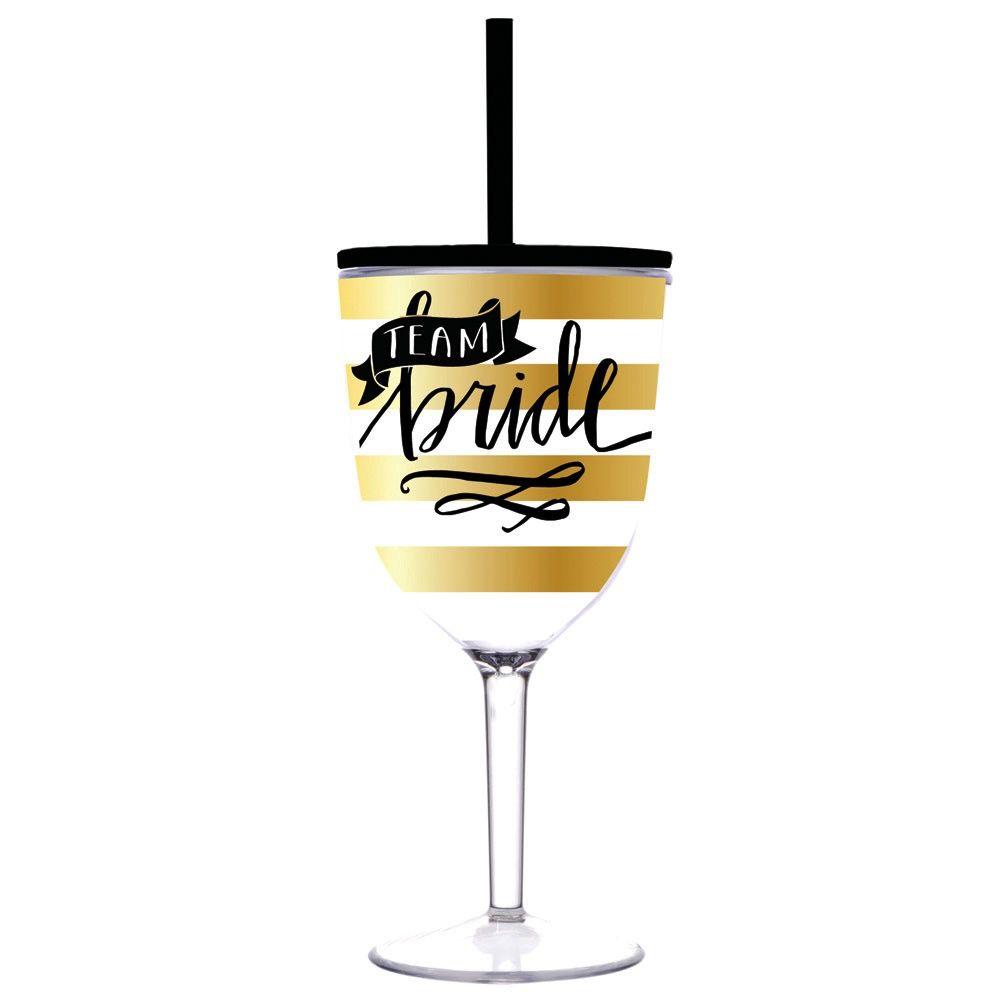 Wine Glass Team Bride - 13oz Acrylic Wine Glass with Lid & Straw
