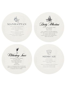Coasters Letterpressed Martini Coasters
