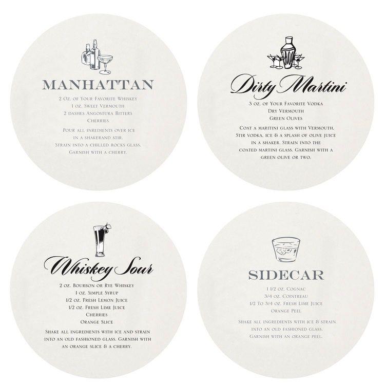 Coasters Letterpressed Martini Coasters