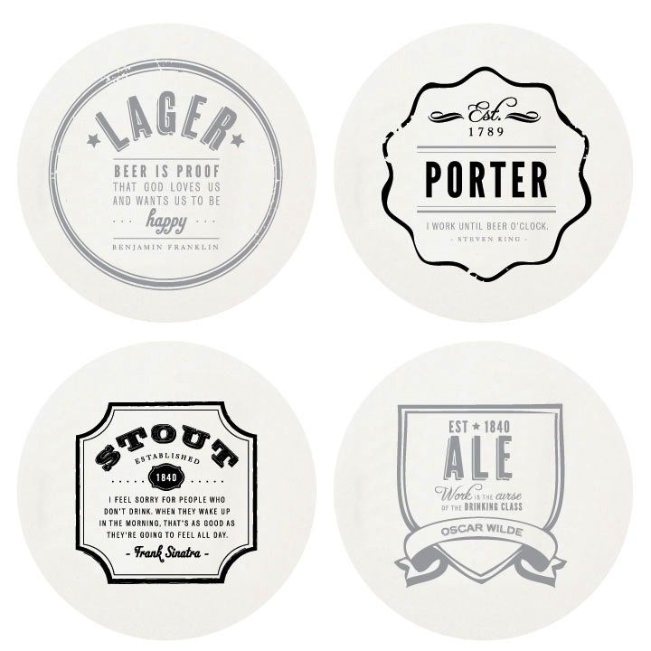 Coasters Letterpressed Beer Coasters