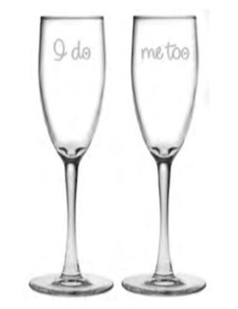 Glasses I Do/Me Too Champagne Flute Set of 2
