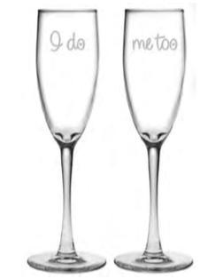 Glasses I Do/Me Too Champagne Flute Set of 2