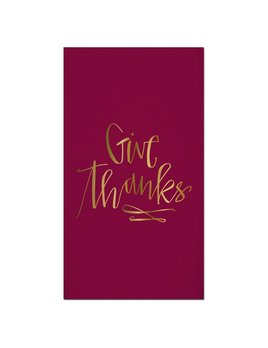 Napkin 16ct Foil Guest Towel - Give Thanks