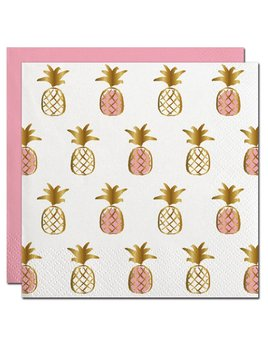 Napkin 20ct Pineapple Pattern with Gold Foil Beverage Napkin