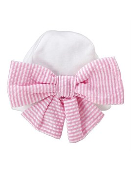 Hat Pink Seersucker Newborn Cap with Monogram