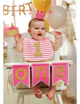 Banner Pink 'One' High Chair Banner