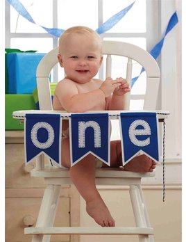 Banner Blue 'One' High Chair Banner
