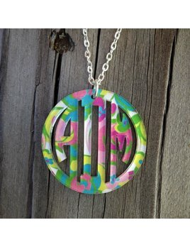Necklace Bordered Monogram Pendant Necklace