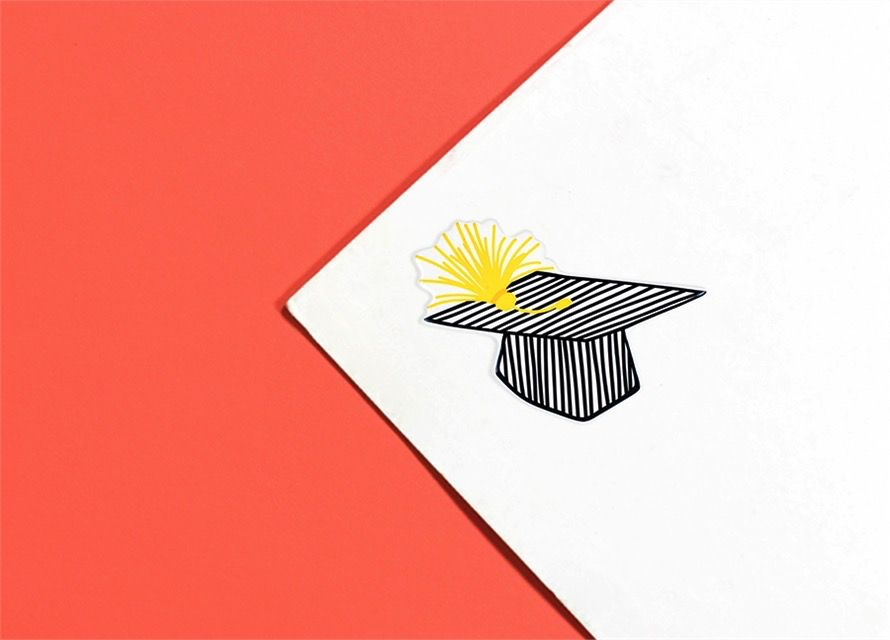 Attachment Striped Graduation Cap Mini