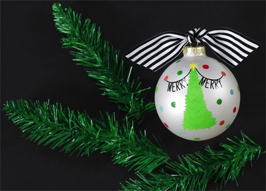 Ornament Merry Banner Tree Glass Ornament