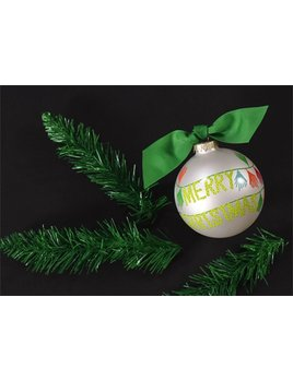Ornament Merry Christmas Tassel Banner Glass Ornament