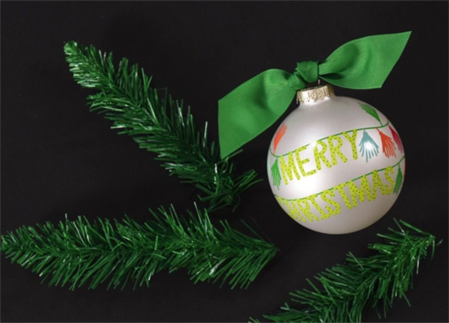 Ornament Merry Christmas Tassel Banner Glass Ornament