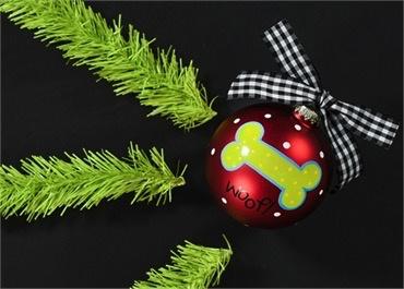 Ornament Woof! Dog Bone Glass Ornament