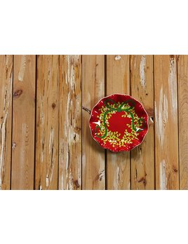 "Festoon 8"" Ruffle Plate Red By Coton Colors"
