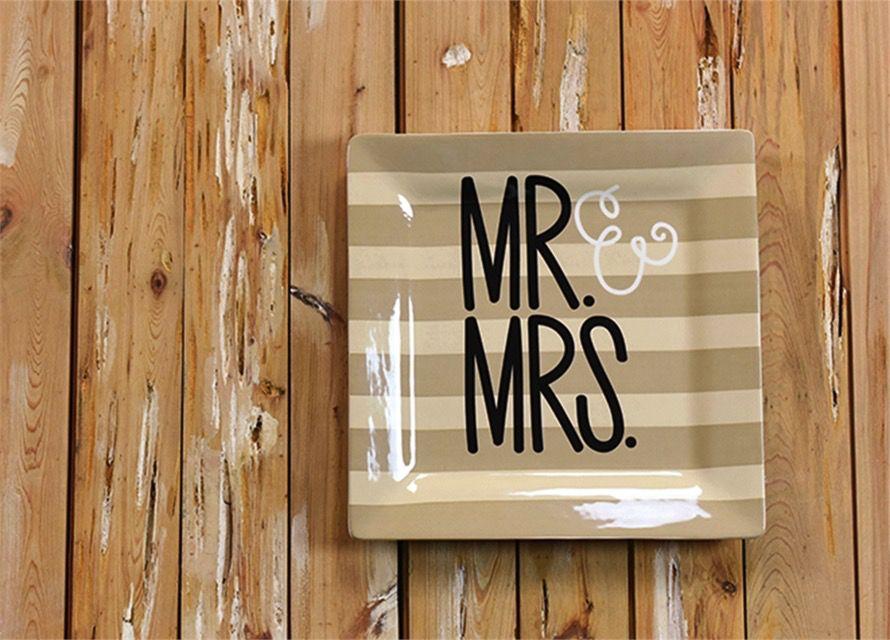 """Platter Mr. & Mrs. Wedding 12"""" Square Platter"""