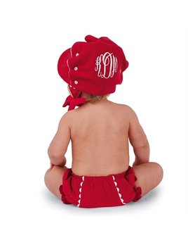 Personalized Red Corduroy Bonnet
