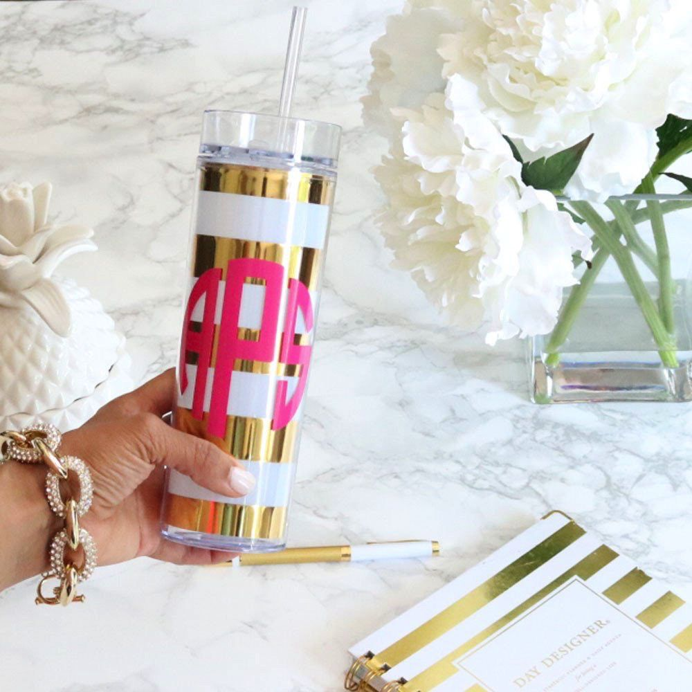 Tumbler Personalized Gold and White Striped Tumbler