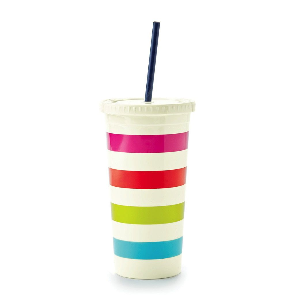 Kate Spade New York Tumbler with Straw - Candy Stripe