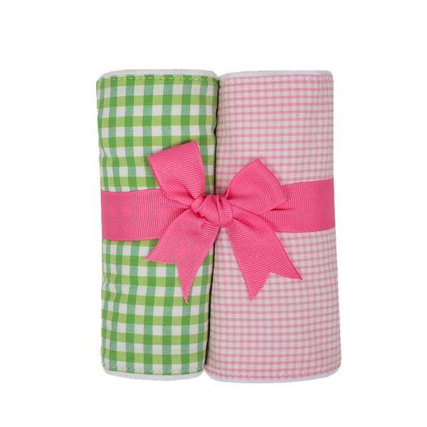 Burp Pads Pink Alligator Set of Two Burp Cloths