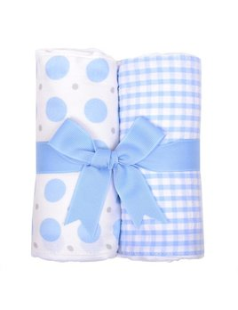 Burp Pads Blue Elephant Set of Two Burp Cloths
