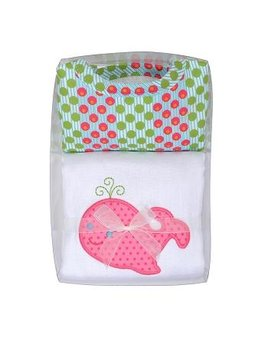 Burp Cloth Pink Whale Boxed Set