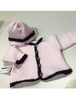Pink Sweater and Hat Set with Brown Chenille
