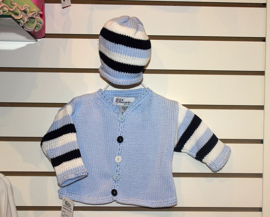 Lt. Blue and Navy Striped Sweater Set with Hat - Jeannine's Boutique