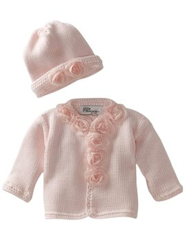 Pink Sweater and Hat with Roses