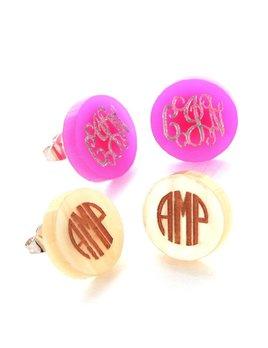 Earrings Acrylic Monogram Stud Earrings