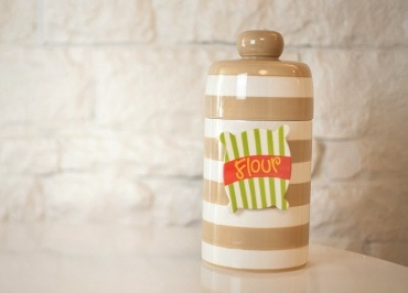 Neutral Stripe Happy Everything Mini Canister