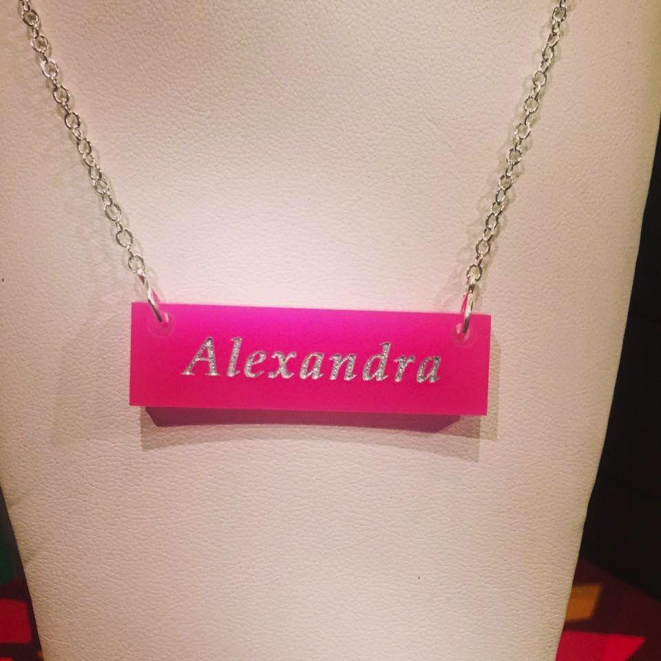 Necklace Name Acrylic Bar Necklace