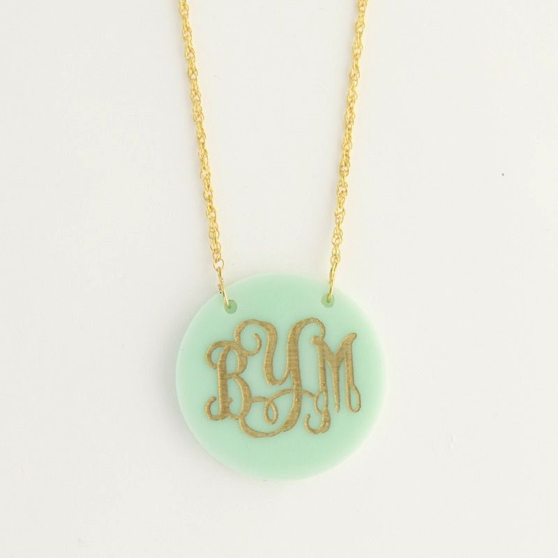 Necklace Round Acrylic Monogrammed Necklace