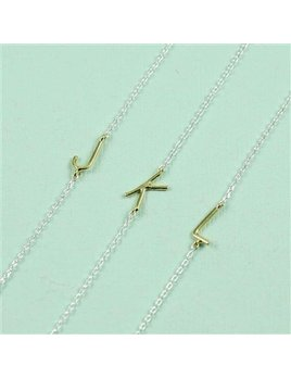 Necklace Silver Chain Gold Sideways Initial Necklace by Cool and Interesting