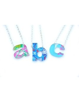 Necklace Patterned Initial Necklaces - Lowercase Block Font