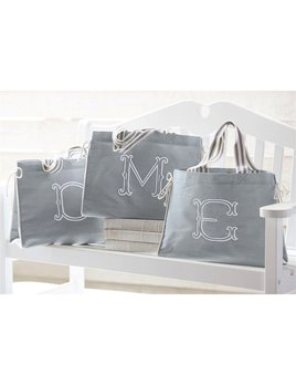 Tote Gray Initial Tote by Mud Pie