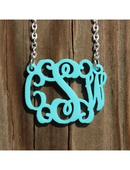 Necklace Floating Acrylic Monogram Necklace