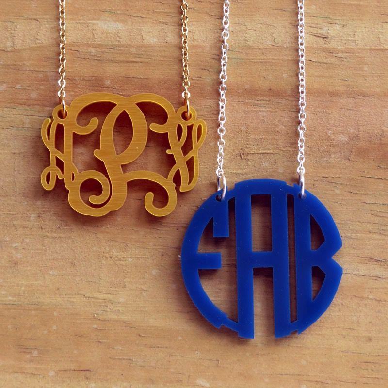 Necklace Floating Acrylic Monogram Necklace
