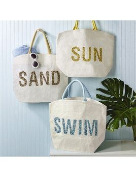 Tote Jute Bag with Beaded Words