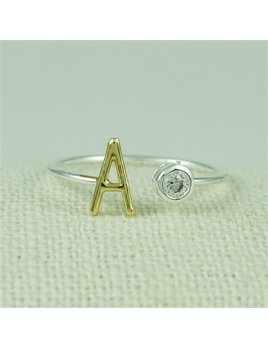 Ring Two Tone Gold CZ Initial Ring