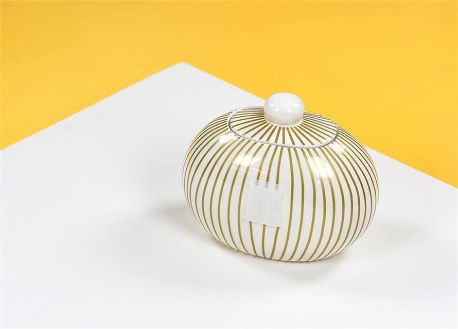 Gold Stripe Happy Everything Mini Cookie Jar