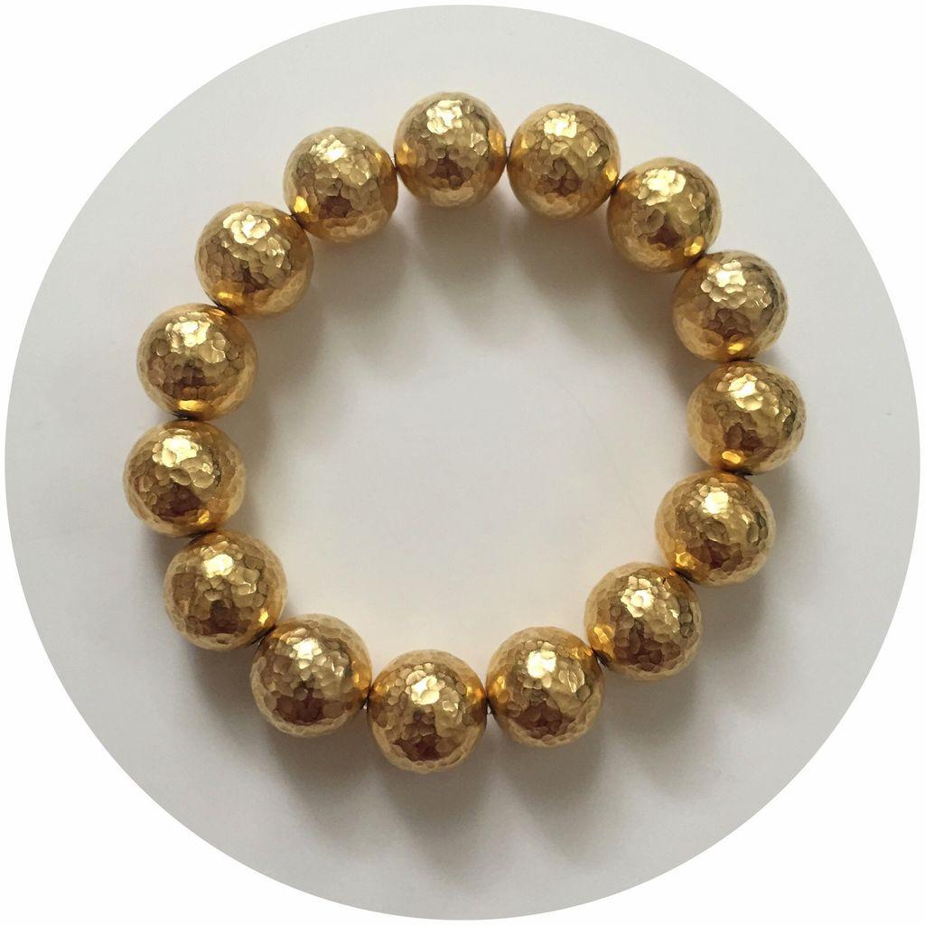 Bracelet Hammered 22k Gold Plated Brass Bracelet By Oriana Lamarca