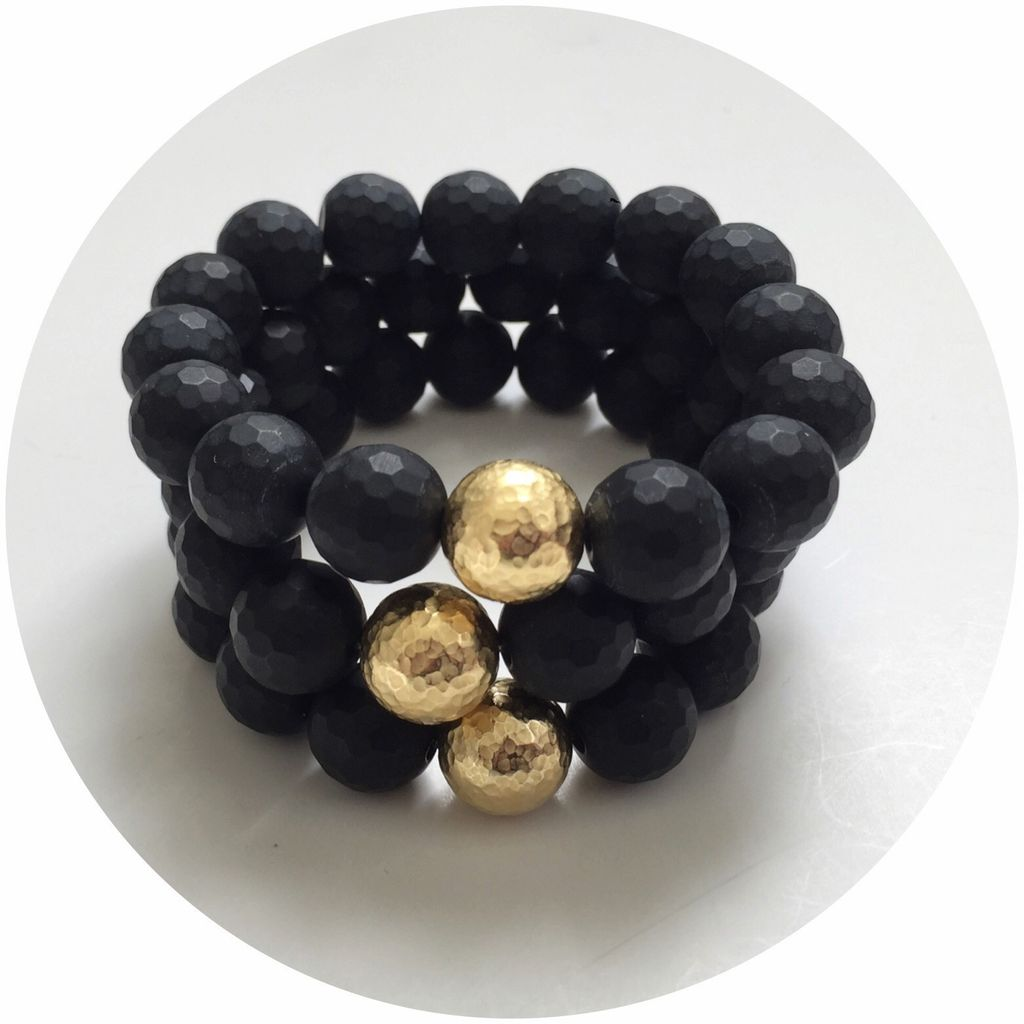 Bracelet Matte Black Onyx with Hammered Gold Accent by Oriana Lamarca